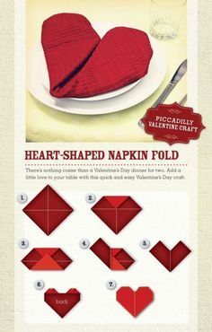When making a Valentine table, fold your napkin into a heart. Valentine Home Dec.When making a Valentine table, fold your napkin into a heart. Valentine Home Decor Ideas on Frugal Coupon Living. Valentines Day Dinner, Valentine Special, Valentines Day Decorations, Valentine Day Crafts, Valentine Day Table Decorations, Heart Decorations, Valentines Ideas For Boyfriend, Valentines Day Tablescapes, Romantic Valentines Day Ideas