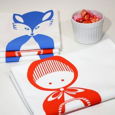 Hand Screen Printed Tea Towel. Little Red Riding Hood. 100% Cotton.