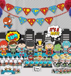 Superheroes Pop Art Baby Shower Party decorations