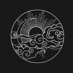 Sun and Moon Design Sky Night Nature Minimalist Circle - Sun Sky Tattoos, Tattoo Moon, Tattoo Ink, Arm Tattoo, Fish Tattoos, Sleeve Tattoos, Tattoo Drawings, Art Drawings, Black Paper Drawing
