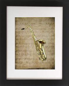 "Saxophone on Sheet Music. Matted with Wood Frame 8"" X 10"". This original art print produced exclusively by CherryPic Junction features a Classic Saxophone over Vintage Sheet Music. It is handmade in small production runs. The print comes in an 9"" X 11"" black wooden frame with white matting. The frame is ready to display in your home right out of the box! This is a dual purpose frame. You can choose to hang it on a wall or display it freestanding on a shelf, table or mantle. It's a…"