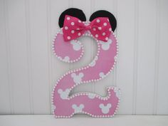 "MINNIE MOUSE theme number, numeral - 15.00 per number, 8-1/2"", birthday party decorations and for monthly or yearly birthday pictures"