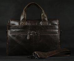 #Leather #Satchel Handbag #Messenger Laptop with Multi-Compartments