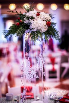 Winter Event Gorgeous Holiday Centerpieces By JP Parker For The ISES Indiana Snowflake Soiree