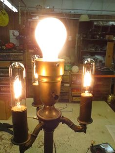 Lamp Parts and Repair | Lamp Doctor: Broken Antique Brass Floor Lamp with Cluster and Mogul Socket Repaired