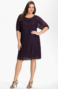 23eb5bd76eb J Kara Sequin Chiffon Shift Dress (Plus Size)