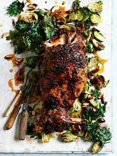 slow-roasted lamb shoulder with brussels sprouts and crispy kale from donna hay