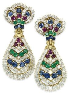 Diamond, Sapphire, Ruby, Emerald And Gold Earrings