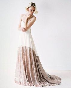 LOVE rose gold sequin hem. (@truvellebridal). Dreamy!