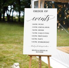 Wedding Order of Events Sign | Printable Wedding Sign | Wedding Timeline Sign | Large Wedding Signage | DIY Custom Order of Service Sign