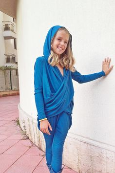 Extravagant hooded cowl neck wool top/Pixie by ForCutiesKids