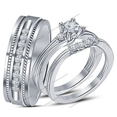 His & Her 0.80 CTW Round D/VVS1 Diamond Prong With Pure 925 Silver Trio Ring Set #br925silverczjewelry