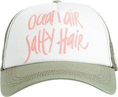 Ocean Air Salty Hair http://www.swell.com/New-Arrivals-Womens/BILLABONG-OCEAN-AIR-N-HAIR-TRUCKER-HAT?cs=GN