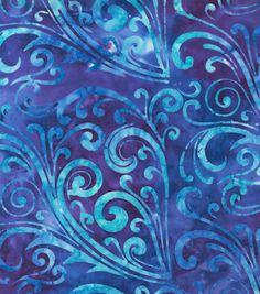 Legacy Studio Cotton Fabric - Blue Scroll Batik