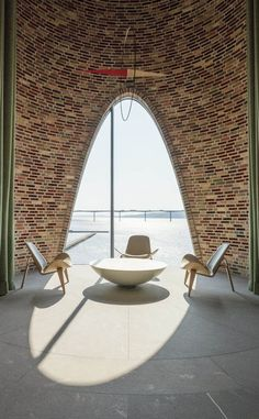in vejle, denmark, olafur eliasson and his studio has completed its first architectural building project, fjordenhus, commissioned by KIRK KAPITAL. Vejle, Brick Architecture, Sustainable Architecture, Pavilion Architecture, Residential Architecture, Contemporary Architecture, Landscape Architecture, Brick Design, Facade Design