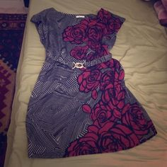 Pretty off the shoulder dress Roses on a cotton gray and black dress Love Culture Dresses Mini