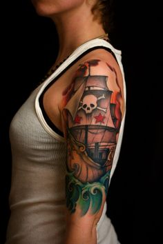 Pirate Ship Tattoos are mainly worn by menduring 1930s. Ship tattoo designs may be portrayed with a variety of different elements and symbols. Ship tattoo designs could be designed with pirates.