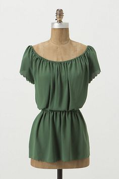 Scalloped edging , waist cinching.. love the colour.  @Anthropologie