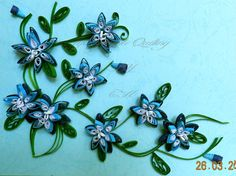 Journey into Quilling & Paper Crafting: Quilled Flowers Cascade in Blue