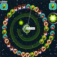 n this Ben 10 game you have to match three faces to eliminate a line and score point. Shoot tokens as the faces show on the screen and try to for a line with the matching faces. When you get three faces jointly, the line is eliminated and you get some point. You can see the face you're shoot on the top correct of the screen. Hurry up since the faces keep appear and if they get to the end of the coil, you lose.