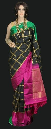 Black Zari Check Kanjeevaram Saree