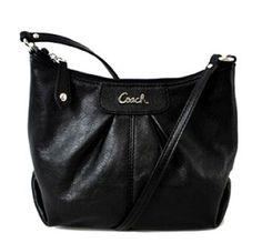 Coach Ashley Leather Swingpack Crossbody Messenger Bag Purse 46872 Black