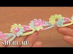 How To Crochet Floral Cord With Beads (instructions in Russian) Урок 72 Цветочные элементы в шнуре