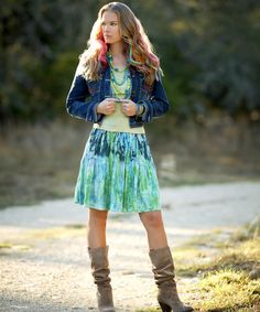 cute tie-dyed Jean Jacket and Skirt  - totally me in my younger days.