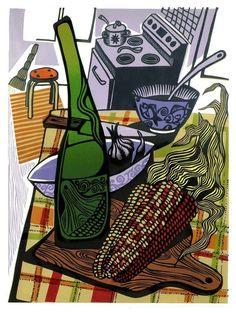 A Kitchen Table, linocut by Natalia Moroz Linocut Prints, Art Prints, Printing Ink, Wood Engraving, Printmaking, Artwork, Inspiration, Linoprint, Kitchen