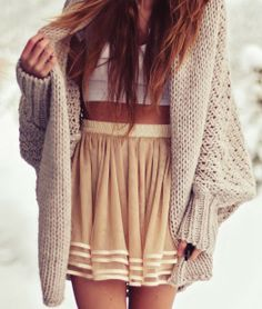 Oversize cardigan, white blouse and skirt Fun and Fashion Blog