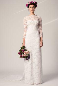 Robe de mariée à manches longues et dentelle vintage - Robe: Temperley Bridal printemps-été 2015 #bridaldress #bohemianbride #weddingdress