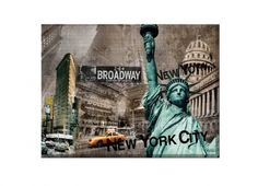 QUADRO CANVAS STATUA LIBERTA' BLU 85X110. Quadro rettangolare con supporto in legno con foto New York City