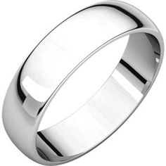 14kt White 5mm Half Round Light Band