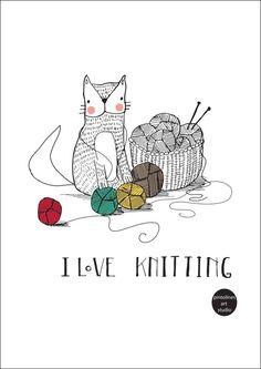 """I love knitting"" print by PintolinesDesign on Etsy"
