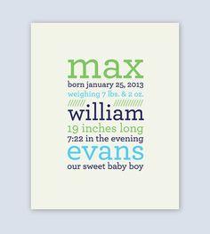 Nursery Art, Personalized Boys Nursery Art 8x10, Birth Announcement Print, Vintage Inspired, Custom Boys Nursery Art