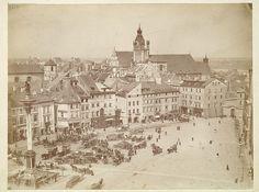 Warszawa. Plac Zamkowy z dzwonnicy kościoła św. Anny w kierunku Starego Miasta. Fotografia, Konrad Brandel, ok. 1885 r.