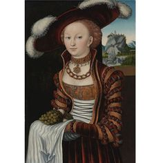 1528 Lucas Cranach the Elder - Portrait of a Young Lady Holding Grapes and Apples