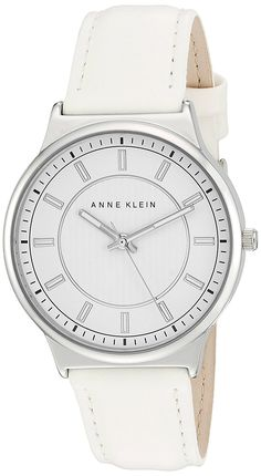 Anne Klein Women's Quartz Metal and Polyurethane Dress Watch, Color:White (Model: AK/2317WTWT) >>> Learn more by visiting the image link.