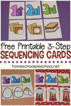 Kids begin to make sense of the order events happen when you introduce them to sequencing with these 3 step sequencing cards free printables for kids. - Kids education and learning acts Free Preschool, Preschool Printables, Preschool Classroom, Preschool Learning, Kindergarten Activities, Montessori Elementary, Preschool Themes, Preschool Schedule, Montessori Preschool