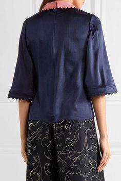 Roksanda - Silk-seersucker Top - Midnight blue - UK