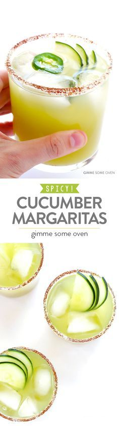 Spicy Cucumber Margaritas Spicy Cucumber Margaritas sweet refreshing and made with a little kick! The post Spicy Cucumber Margaritas appeared first on Getränk. Summer Cocktails, Cocktail Drinks, Cocktail Recipes, Alcoholic Drinks, Beverages, Cucumber Cocktail, Cucumber Drink, Tequila Drinks, Cocktail Desserts