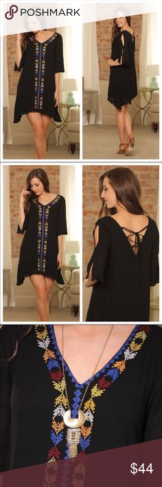 Just in! Black Embroidered Fringe Dress! Just in! Wonderful Black Embroidered Fringe Dress with super cute hemline. Great weight, and adorable detail on the back and sleeves.   100% Rayon and fully lined.   I will add actual photos and measurements once they're steamed.😊 Infinity Raine Dresses