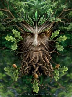 Oak King From the set of the Enchanted Forest. The green man is a classic character and this is an oak themed image with celtic style branch designs. I imagine him emerging from the trees and looking down over the enchanted wood as guardian.                                                                                                                                                      More