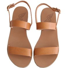Ancient Greek Sandals Clio (730 RON) ❤ liked on Polyvore featuring shoes, sandals, flats, footwear, leather sole shoes, flat pumps, strappy flats sandals, leather shoes and leather strap sandals