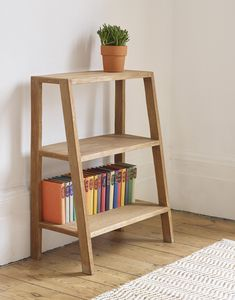 Sumatra Half Ladder Bookcase - Our Sumatra bookcase ladders are handmade in Indonesia from solid reclaimed teak floorboards, repur -