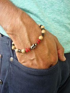Men's Spiritual Healing, Strength, Fortune, Protection Bracelet with Semi Precious Tibetan Agate, Grain Stone, Red Shell, Black Wood, Brass