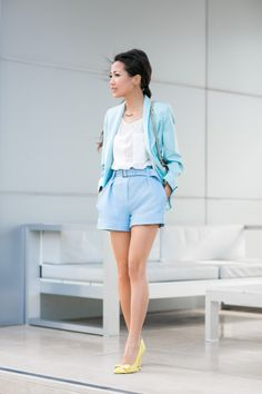 Pastel Watercolors :: Aqua blazer   Top :: Zara blazer, ASOS sheer top (20% off w/ code 'Take20′)  Bottom :: Theory   Shoes :: Bottega Veneta   Bag :: Valentino
