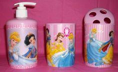 cool Disney Princess Pink Bathroom Set/ Toothbrush Holder/Soap Dispenser/ 8Oz Drinking Glass