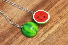 Watermelon Friendship Necklaces Or Keychains - Fruit Jewelry Watermelon Fruit Necklace Bff jewelry Friendship Jewelry Friends Bff Necklaces, Best Friend Necklaces, Couple Necklaces, Best Friend Jewelry, Cute Necklace, Cute Polymer Clay, Polymer Clay Charms, Polymer Clay Jewelry, Crea Fimo
