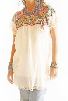 embroidered top & great accessories